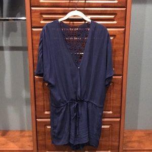 L space rayon romper medium navy blue worn 1 time